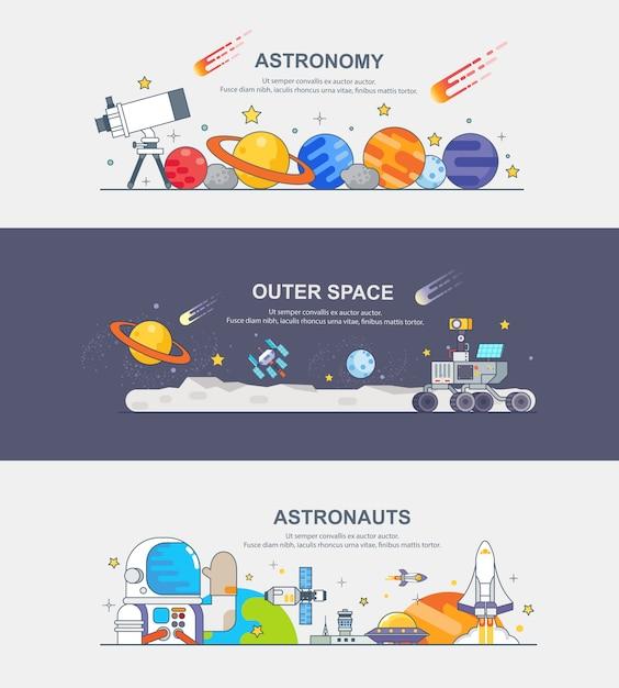 宇宙飛行士のバナー Premiumベクター