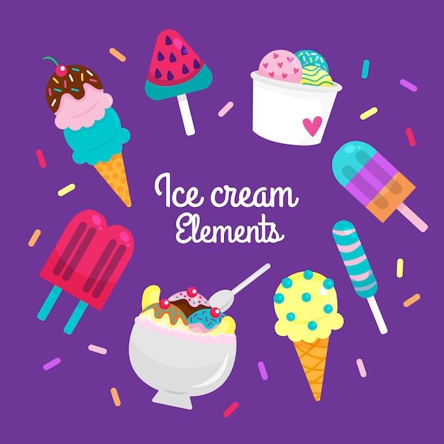 アイスクリームの要素 Premiumベクター