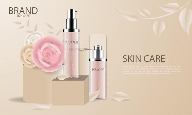 Элегантная косметическая реклама по уходу за кожей Premium векторы