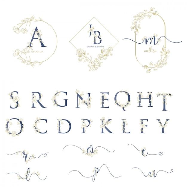 アルファベットでモダンな結婚式のロゴ Premiumベクター