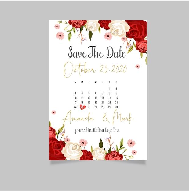 テキストと花の結婚式の招待カードテンプレート Premiumベクター