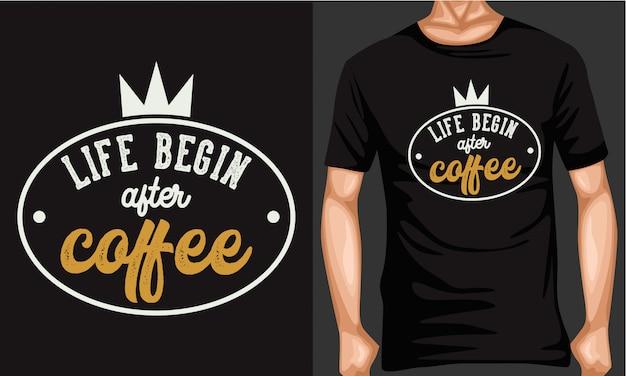 コーヒーと人生のレタリングタイポグラフィ Premiumベクター