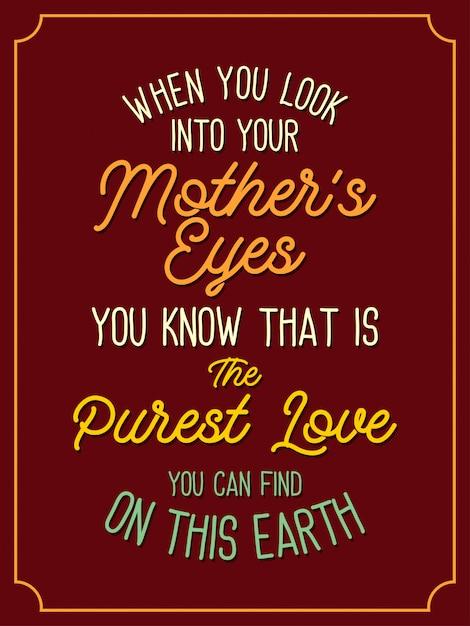 母はタイポグラフィの引用符をレタリングする最も純粋な愛です Premiumベクター