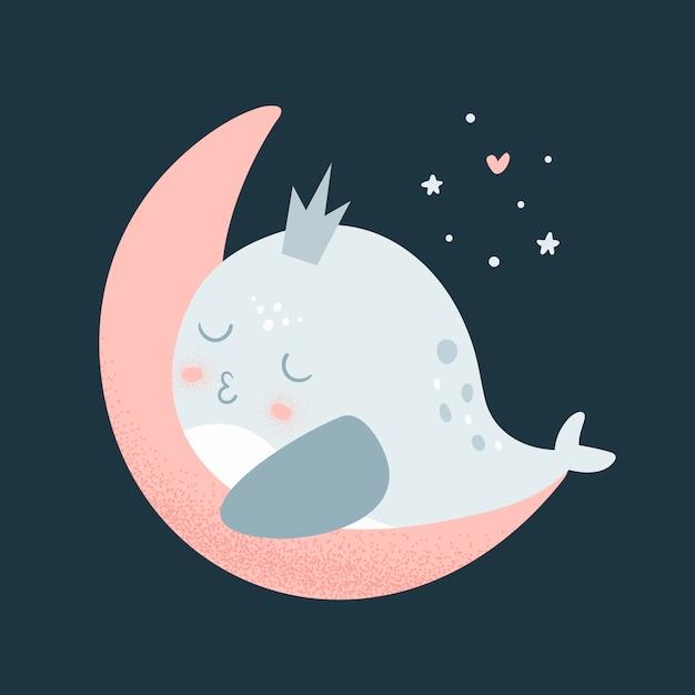 クジラの赤ちゃんが月面で眠る Premiumベクター