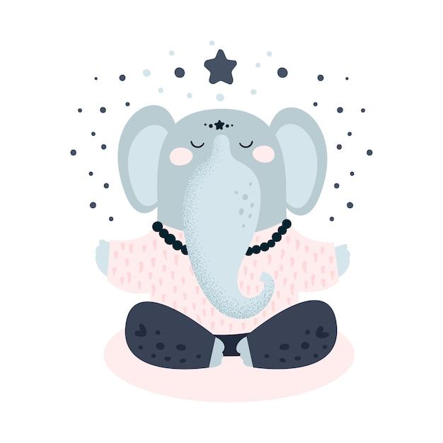 かわいい象のヨガ瞑想 Premiumベクター