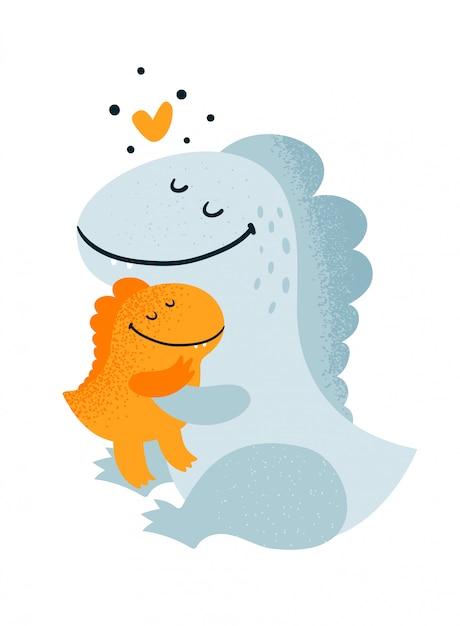 かわいい素敵な恐竜の家族 Premiumベクター