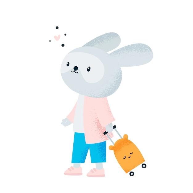 動物を旅行します。空港でかわいいウサギのウサギ Premiumベクター