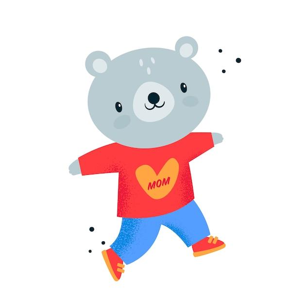 Плюшевый мишка детское животное в красный балахон с сердцем. я люблю свою маму Premium векторы