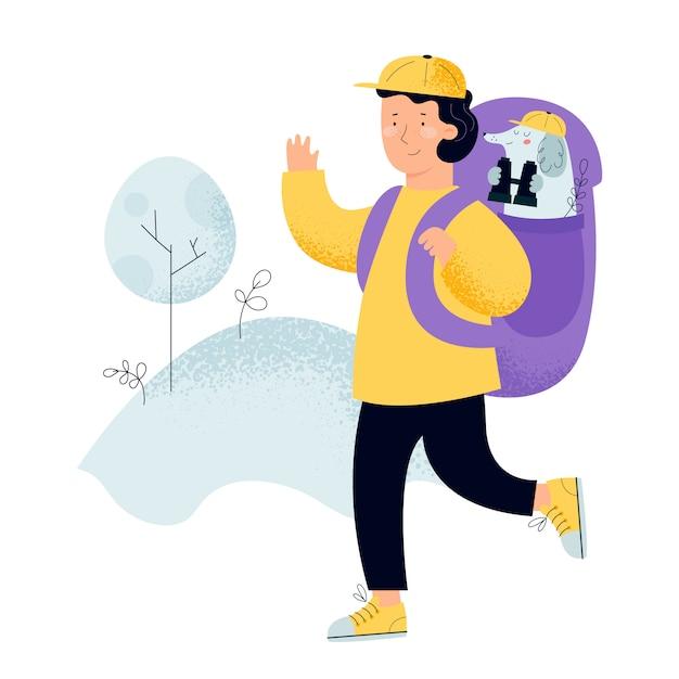 バックパック、旅行者または自然の森を探している探検家を持つ男。犬の双眼鏡を持つ若い観光客発見、探査、ハイキング、冒険の概念 Premiumベクター