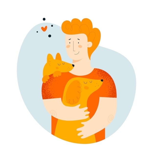 男と犬 Premiumベクター