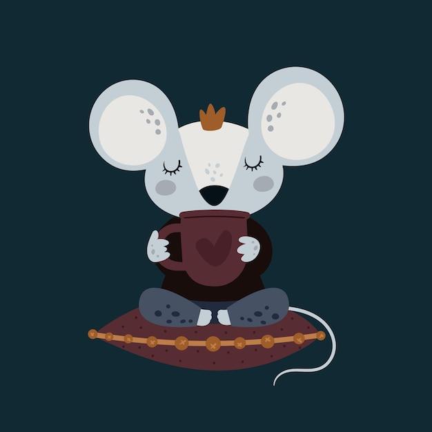 Симпатичные смешные мышки с чашкой кофе Premium векторы