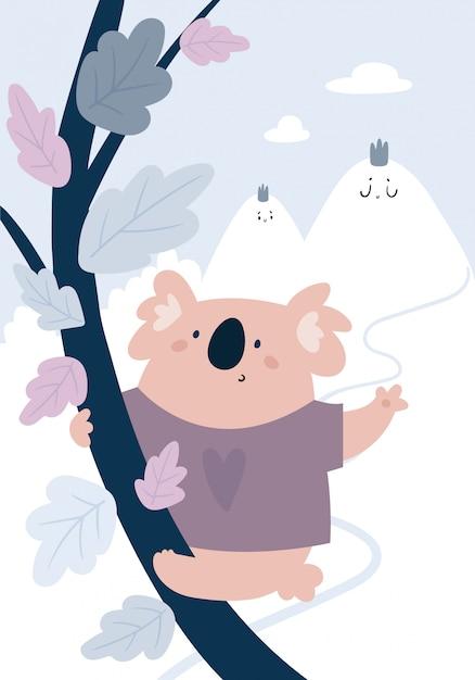 木と雪のかわいい動物コアラの赤ちゃん Premiumベクター