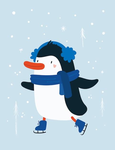 雪のペンギンの動物の赤ちゃん Premiumベクター