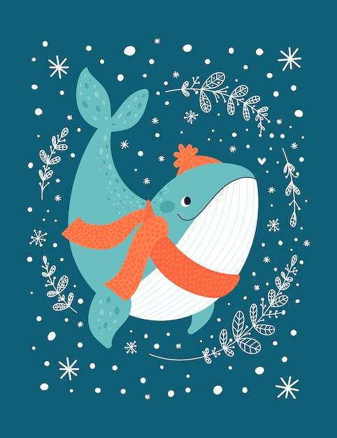 暗闇の中で分離された幸せな海のクジラ動物 Premiumベクター