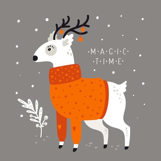 Счастливого рождества праздник праздничной иллюстрации. очаровательный олень в свитере на фоне снежинок Premium векторы