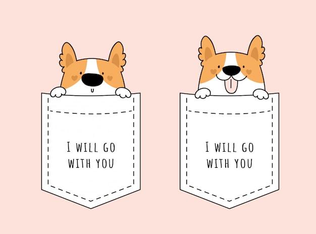Очаровательны милый щенок сидит в кармане. набор с милым корги домашним животным Premium векторы