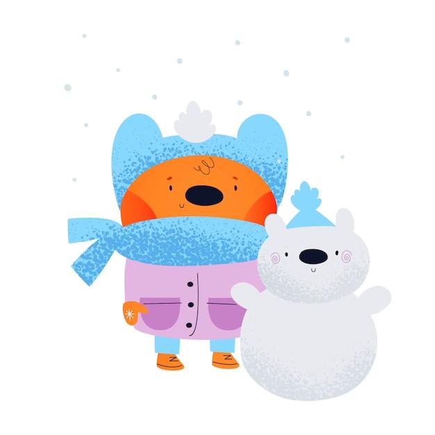 Милый плюшевый мишка со снеговиком Premium векторы