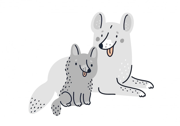 Симпатичные собаки семейства. мама собака и забавный щенок мультяшный иллюстрации Premium векторы