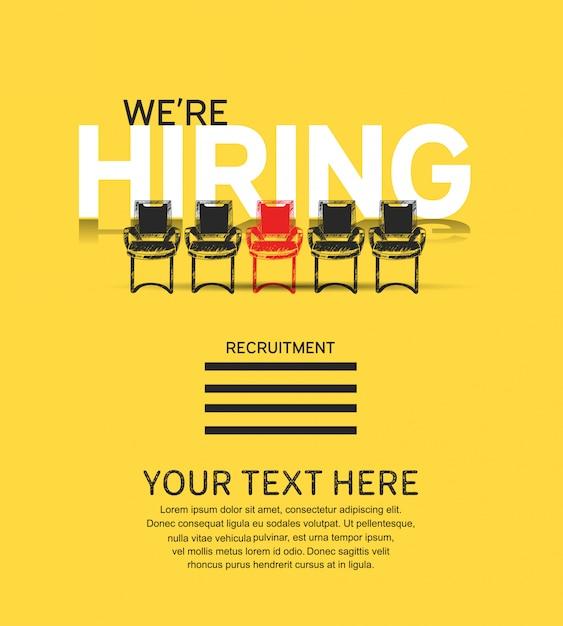 Мы нанимаем концептуальный плакат с иллюстрацией стульев Premium векторы