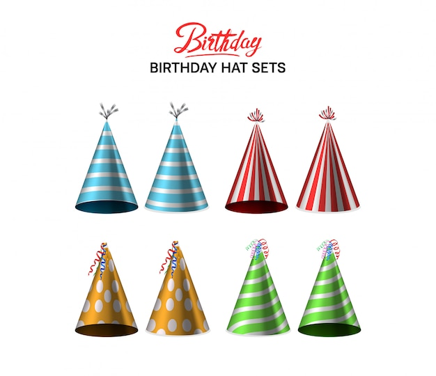 誕生日帽子セットカラフルなイラスト Premiumベクター