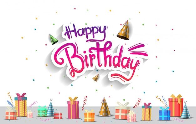 お誕生日おめでとうございます。パーティーのお祝い、ポスター、バナー、背景 Premiumベクター