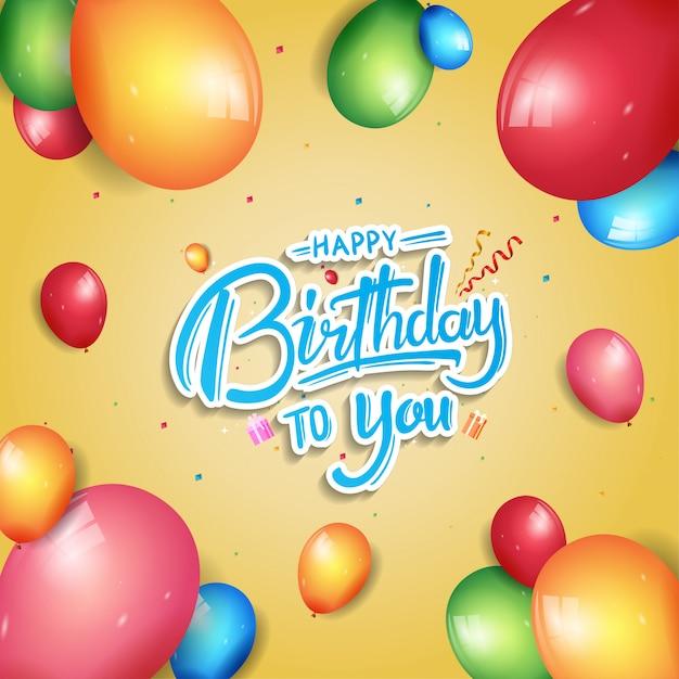 お誕生日おめでとうポスターお祝いイラスト Premiumベクター