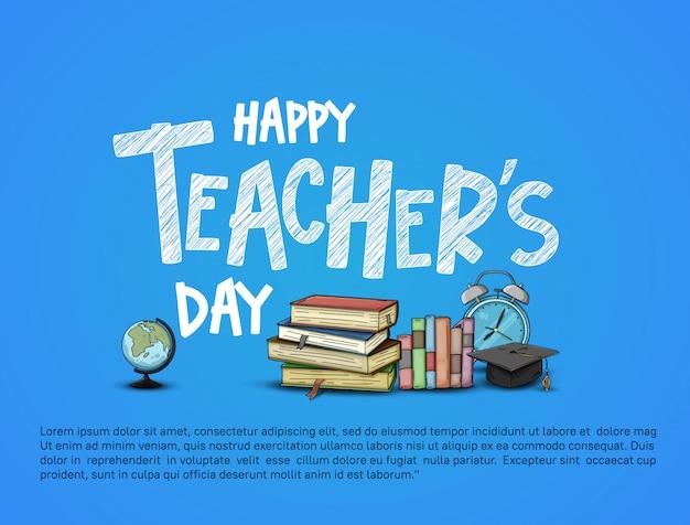 Счастливый день учителя иллюстрации карты Premium векторы