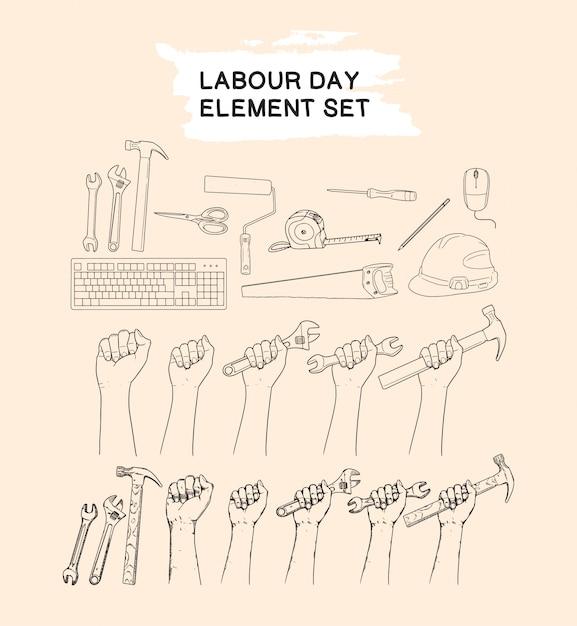 労働者の日要素セット手描きのコレクション Premiumベクター