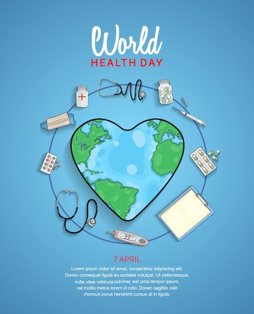 Плакат всемирного дня здоровья Premium векторы