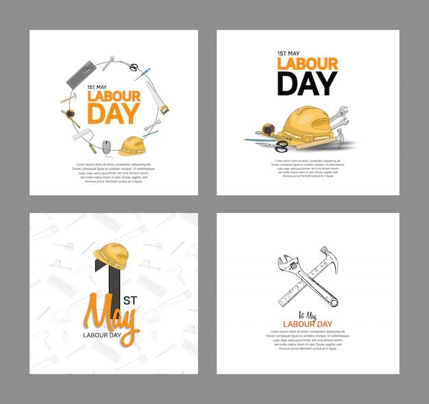 労働者の日ベクターデザインポスター Premiumベクター