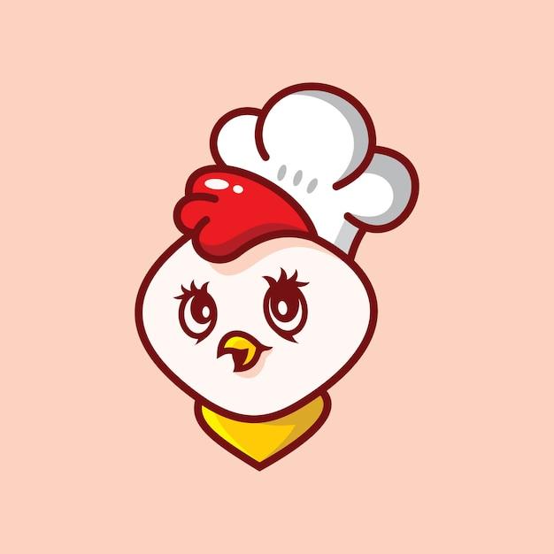 Цыпленок милый логотип Premium векторы