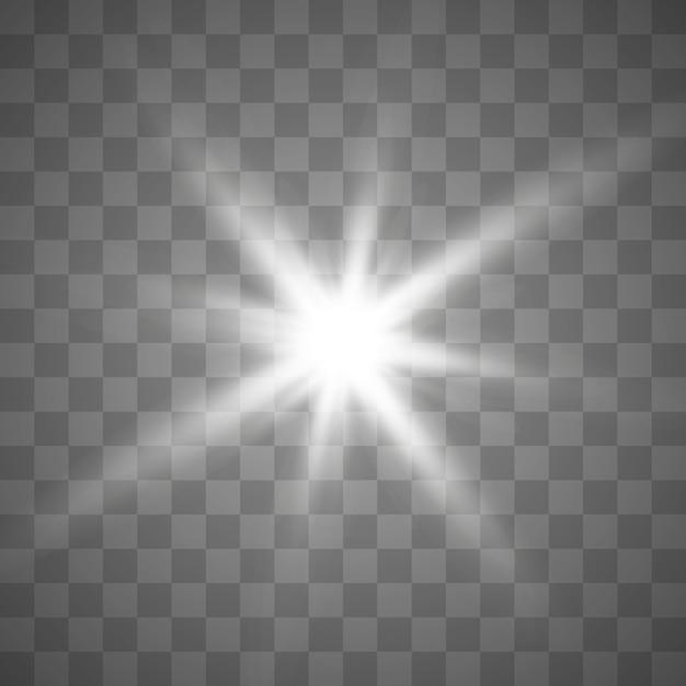 チェス盤の上の透明な白と灰色の背景上の星。 Premiumベクター
