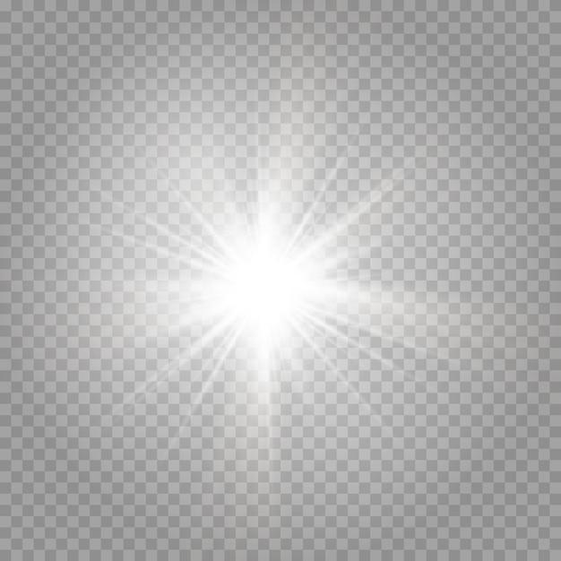 輝く星と輝くグレアの爆発 Premiumベクター