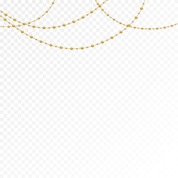 Разные модели и формы золотых бус. Premium векторы