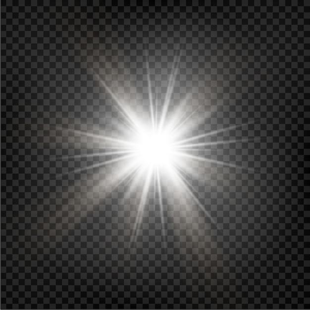 輝く星。透明な輝く太陽、明るいフラッシュ。輝く。ベクトル図 Premiumベクター