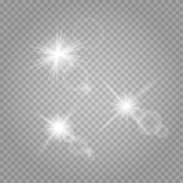 Звезда установлена. белый светящийся свет взрывается на прозрачном. Premium векторы