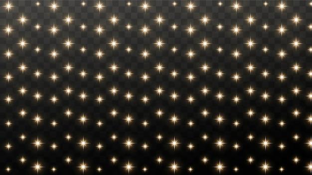 金の火花と金の星は、本当の光の効果で輝きます。金色の紙吹雪の爆発。 Premiumベクター