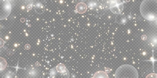 Сверкающая волшебная пыль. на текстурном черно-белом фоне. праздник абстрактный фон из золотых блестящих частиц пыли. волшебный эффект. золотые звезды. Premium векторы