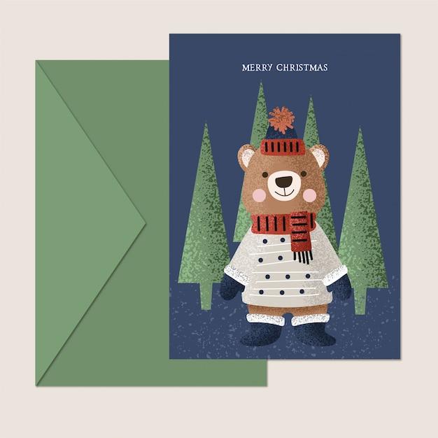 Милая рождественская открытка с медведем Premium векторы