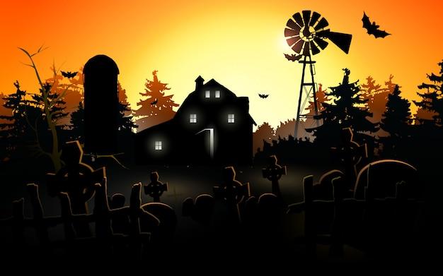 ハロウィンのカボチャ。月と夜の森でハロウィーンの背景 Premiumベクター
