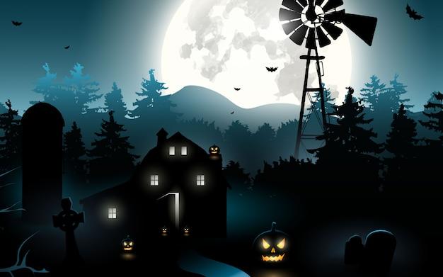 Хэллоуин тыква. хэллоуин фон в ночном лесу с луной Premium векторы