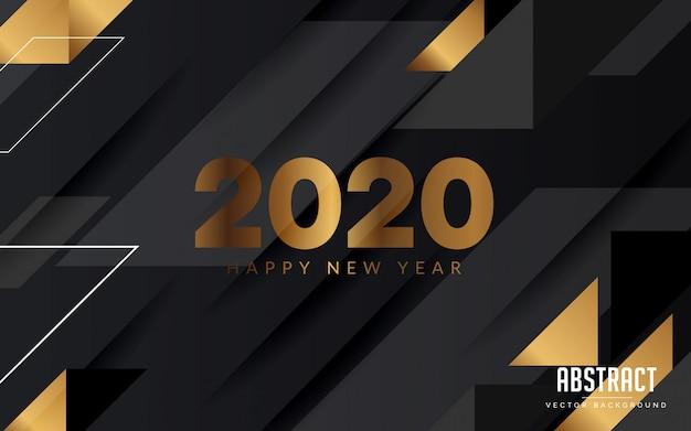 抽象的な背景黒とゴールド色新年あけましておめでとうございますモダンなデザイン Premiumベクター