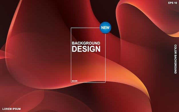 液体色の背景デザイン。流体グラデーション形状の構成 Premiumベクター