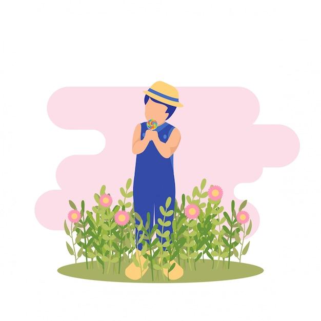 イラスト春かわいい子供男の子花を演奏し、ガーデンパーティーでお菓子を食べる Premiumベクター