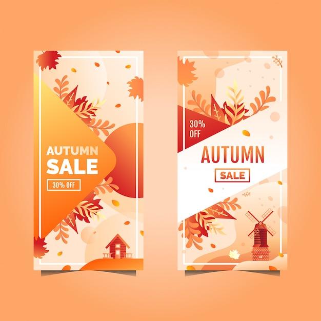 秋のセールバナー Premiumベクター