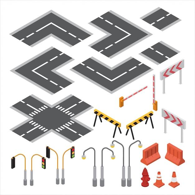 道路と交通信号、コーン、街路灯、等角投影地図のマーキングのセット Premiumベクター
