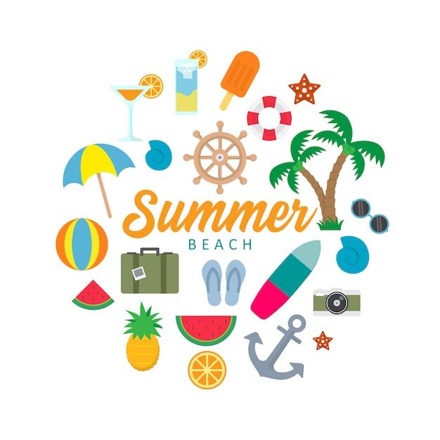 夏のビーチオブジェクトのカラフルなベクトル Premiumベクター