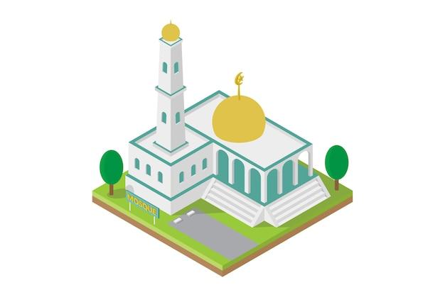 ベクトルの等尺性モスク建物 Premiumベクター
