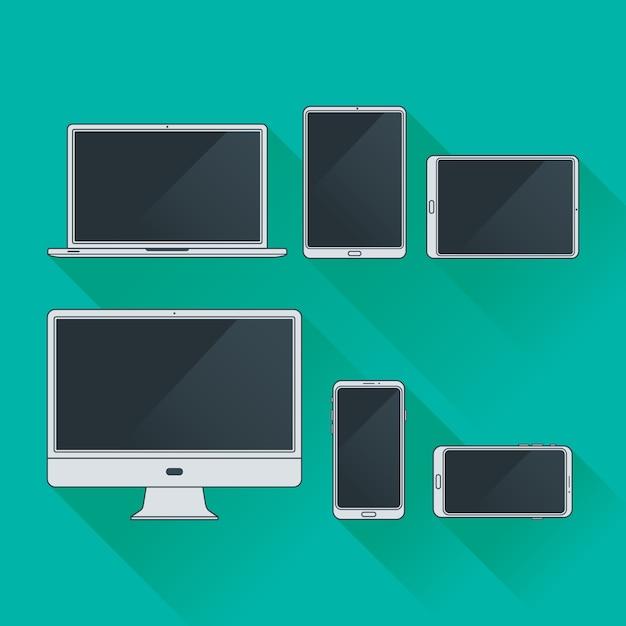 フラットコンピューターとガジェットアウトラインパック Premiumベクター