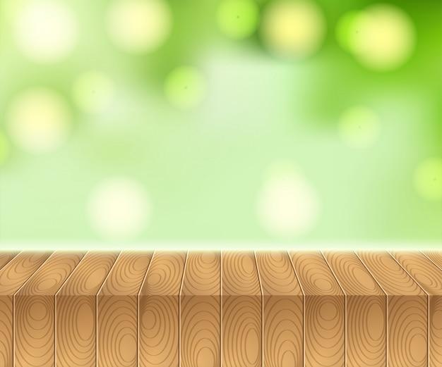 木製のピクニック用のテーブルと夏の空に日光 Premiumベクター
